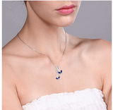 925 Sterling Silver Butterfly Necklace Created Blue Sapphire Diamond Butterfly Pendants Jewelry Butterfly Chain Birthday Gift Silver Color 18in.