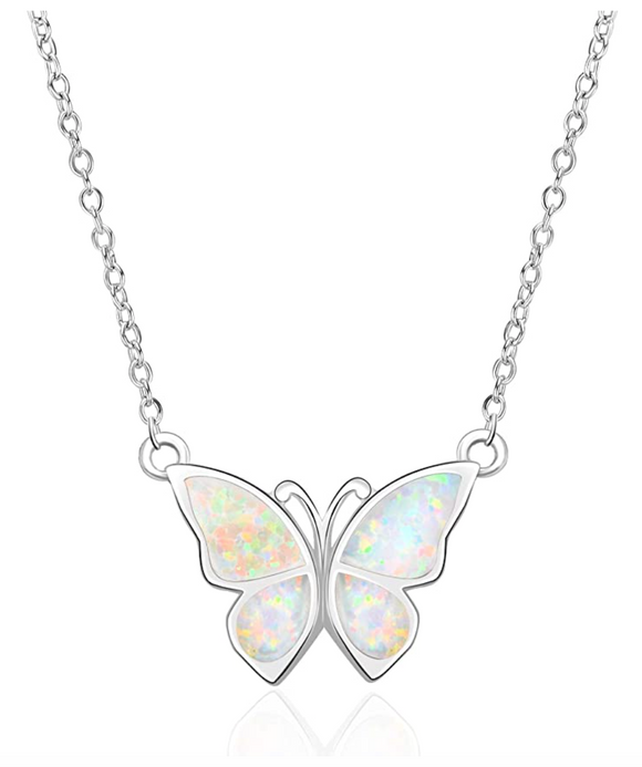 White Created Opal Butterfly Necklace Blue Butterfly Pendants Jewelry Butterfly Chain Birthday Gift 925 Sterling Silver 18in.