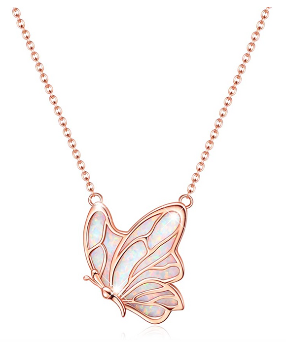 White Created Opal Butterfly Necklace Rose Gold Butterfly Pendants Jewelry Butterfly Chain Birthday Gift 925 Sterling Silver 18in.