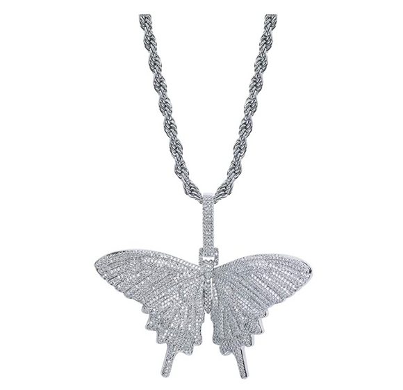 Butterfly Necklace Simulated Diamond Butterfly Pendants Hip Hop Jewelry Butterfly Chain Birthday Gift 24in.