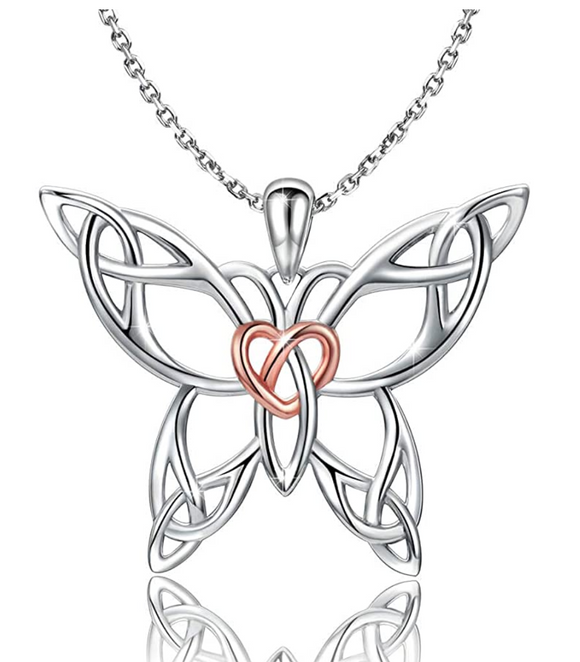 Heart Butterfly Necklace Love Butterfly Pendants Jewelry Butterfly Chain Birthday Gift 925 Sterling Silver 18in.