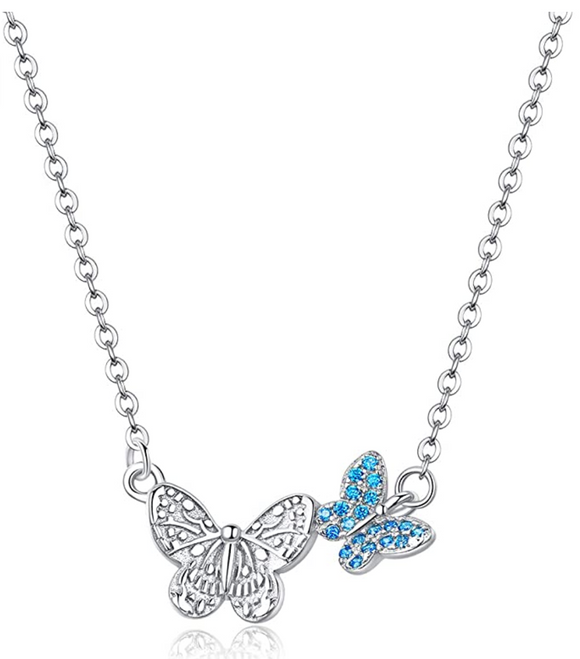 Two Butterfly Necklace Blue Butterfly Pendants Jewelry Butterfly Chain Birthday Gift 925 Sterling Silver 18in.