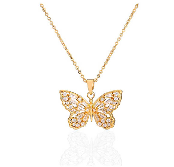 Gold Tone Butterfly Necklace Simulated Diamond Butterfly Pendants Jewelry Butterfly Chain Birthday Gift 925 Sterling Silver 18in.