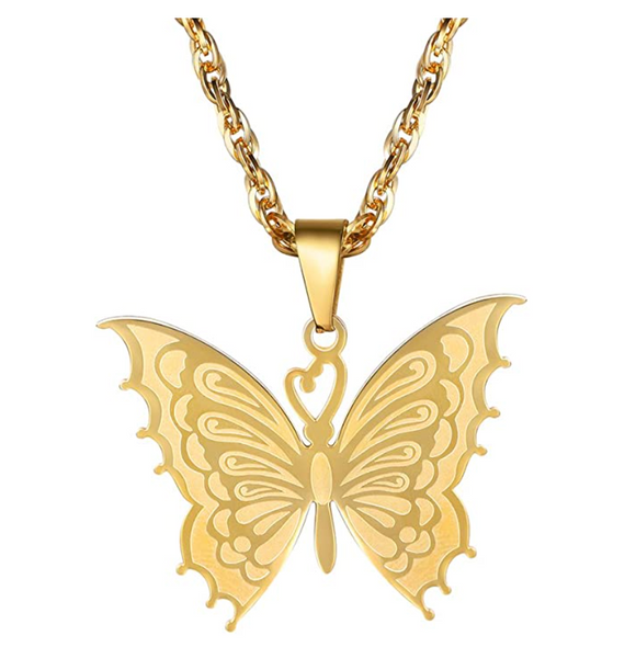 Fancy Butterfly Necklace Butterfly Pendants Jewelry Butterfly Chain Birthday Gift Gold Silver Color 22in.