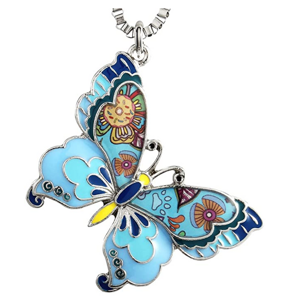 Colorful Butterfly Necklace Butterfly Pendants Jewelry Butterfly Chain Birthday Gift Silver Color 22in.
