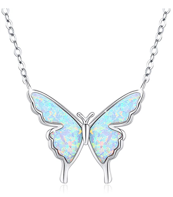 Butterfly Necklace Created Blue Opal Butterfly Pendants Jewelry Butterfly Chain Birthday Gift 925 Sterling Silver 18in.