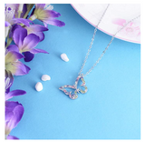 Rainbow Butterfly Necklace Simulated Diamond Butterfly Pendants Jewelry Butterfly Chain Birthday Gift 18in.