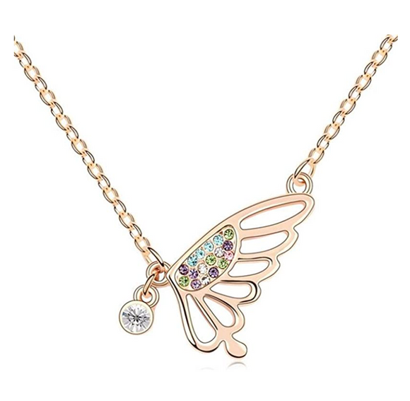 Butterfly Wing Necklace Simulated Diamond Butterfly Pendants Jewelry Butterfly Chain Birthday Gift 18in.