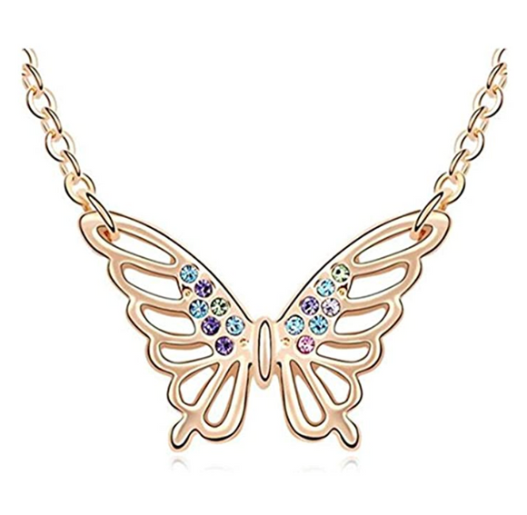 Fancy Butterfly Necklace Simulated Diamond Butterfly Pendants Jewelry Butterfly Chain Birthday Gift 18in.
