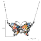 Vintage Butterfly Flower Necklace Butterfly Pendants Flower Jewelry Butterfly Chain Birthday Gift 18in.