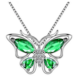 Beautiful Butterfly Birthstone Necklace Butterfly Pendants Jewelry Butterfly Created Gemstone Chain Birthday Gift Silver Color Simulated Diamonds 18in.