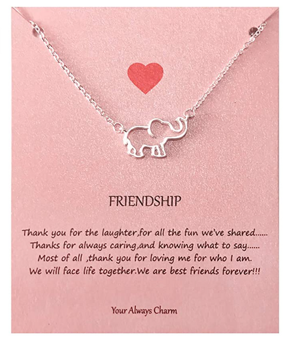 Friendship Elephant Pendant Necklace Elephant Jewelry Lucky Chain Gift Rose Gold Silver Color 18in.