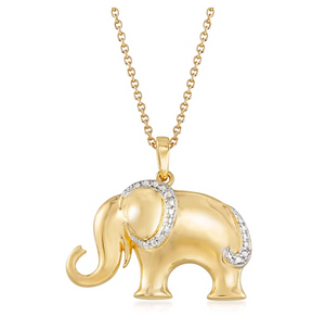 Simulated Diamond Elephant Pendant Necklace Elephant Jewelry Lucky Chain Gift Gold 925 Sterling Silver 18in.
