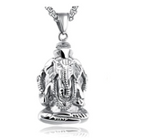 Ganesh God Pendant Lord Ganesh Necklace Elephant Jewelry Hindu Lucky Chain Gold Silver Color 24in.