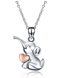 Cute Heart Elephant Necklace Love Elephant Pendant Jewelry Lucky Chain Gift 925 Sterling Silver Color 18in.