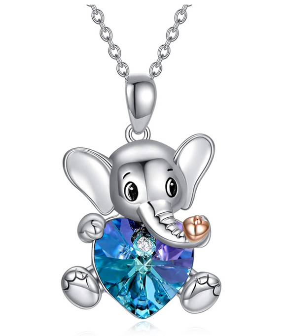 Blue & Purple Crystal Heart Elephant Necklace Love Elephant Pendant Jewelry Lucky Chain Gift 925 Sterling Silver Color 18in.