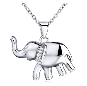 Simulated Diamond Elephant Necklace Elephant Pendant Jewelry Lucky Chain Gift 925 Sterling Silver Color 18in.