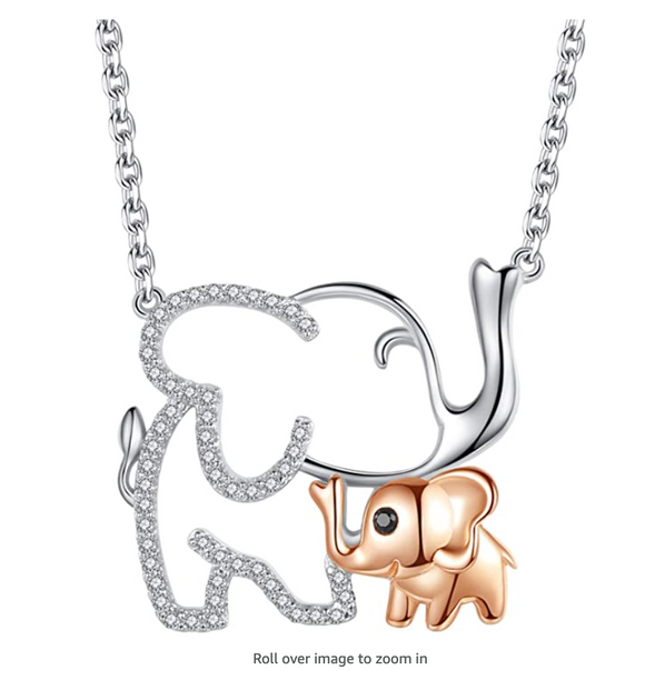 Cute Elephant Family Baby Necklace Elephant Pendant Jewelry Lucky Chain Simulated Diamond Silver Color 18in.