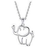 Elephant Lovers Necklace Elephant Pendant Jewelry Lucky Chain Silver Color 18in.