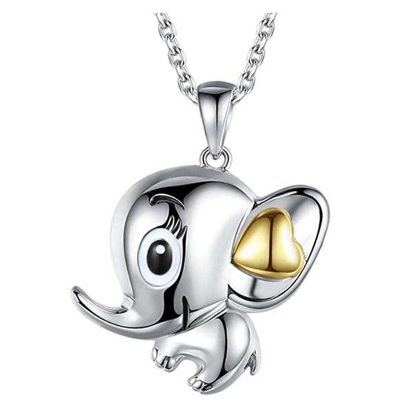 Big Ears Elephant Necklace Love Heart Elephant Pendant Jewelry Lucky Chain Silver Color 18in.