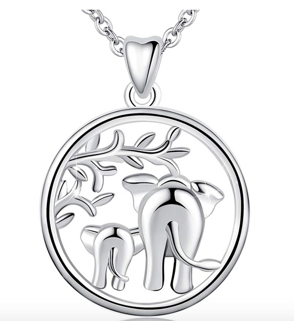 Elephant Family Necklace Medallion Baby Elephant Pendant Jewelry Lucky Chain Silver Color 18in.