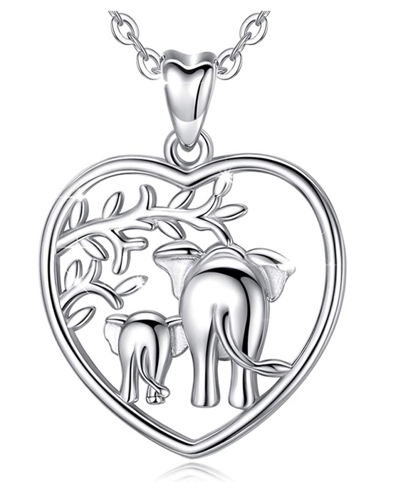 Heart Elephant Family Necklace Baby Elephant Pendant Jewelry Lucky Chain Silver Color 18in.
