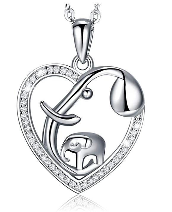 Simulated Diamond Heart Elephant Family Necklace Baby Elephant Pendant Jewelry Lucky Chain Silver Color 18in.