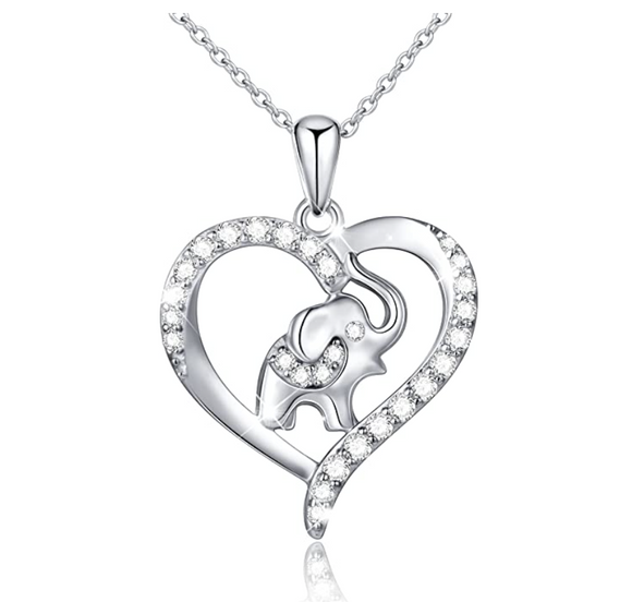 925 Sterling Silver Heart Elephant Family Necklace Baby Elephant Pendant Jewelry Lucky Simulated Diamond Chain 18in.