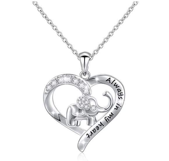 Always In My Heart 925 Sterling Silver Heart Elephant Family Necklace Baby Elephant Pendant Jewelry Lucky Simulated Diamond Chain 18in.