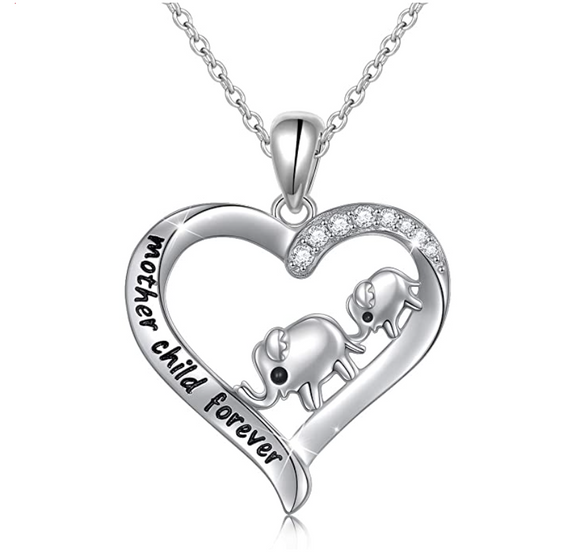Baby & Mom Heart Elephant Love Necklace Elephant Pendant Jewelry Lucky Simulated Diamond Chain 925 Sterling Silver 18in.