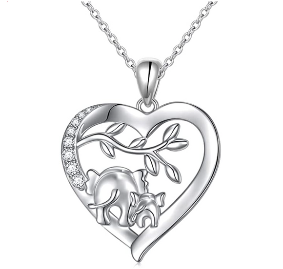 Mother & Baby Family Elephant Love Necklace Heart Elephant Pendant Jewelry Lucky Simulated Diamond Chain 925 Sterling Silver 18in.