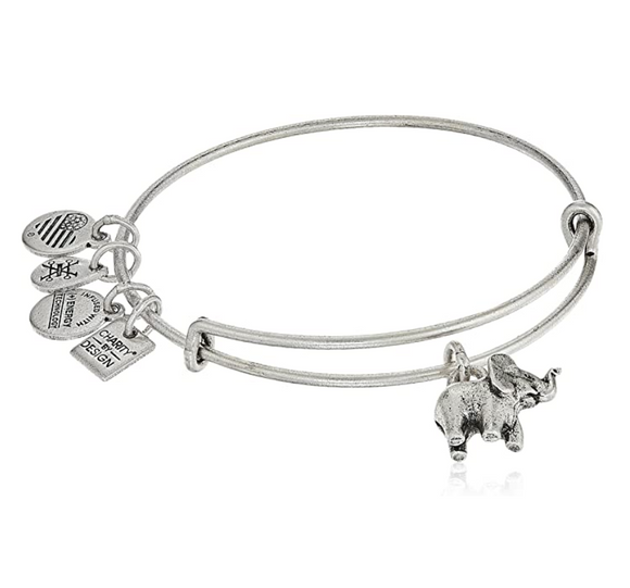 Charity by Design Elephant Bangle Bracelet Lucky Elephant Jewelry Gold Silver Color Adjustable Bracelet