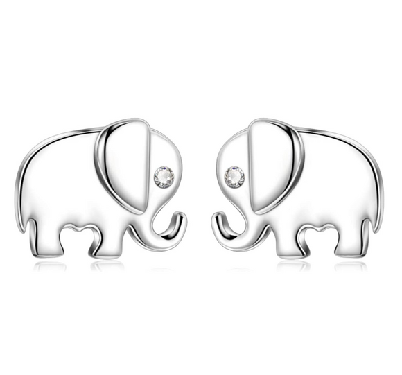 Cute Elephant Earrings Lucky Elephant Jewelry 925 Sterling Silver Earring