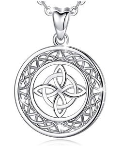 Celtic Knot Necklace Medallion Celtic Knot Cross Pendant Jewelry Luck Chain 925 Sterling Silver 18in.