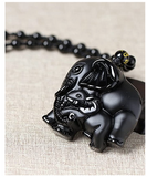 Black Obsidian Elephant Necklace Baby Elephant Family Pendant Jewelry Lucky Bead Chain Chord Gift 22in.