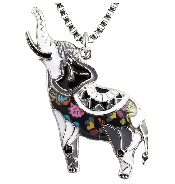 Colorful African Elephant Pendant Necklace Elephant Jewelry Lucky Chain Gift 18in.