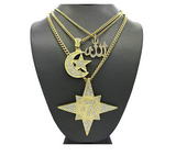 Circle 7 Chain Koran Necklace 5 Percenter Arabic Chain Muslim Star Crescent Moon Islamic Allah Necklace Moorish Jewelry N.O.I Simulated Diamond Gold Color Metal Alloy 24in.