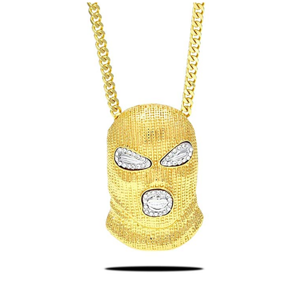 Gold Ski Mask Chain Robber Necklace Silver Diamond Chain Hip Hop Pendant Gun Money Bag Chain 24in.