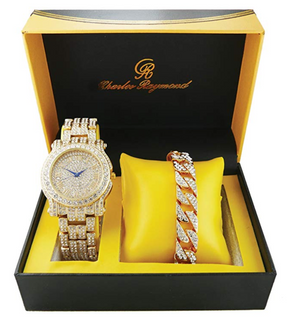 Gold Diamond Luxury Watch Set Hip Hop Cuban Link Bracelet Iced Out Bling Jewelry Bundle