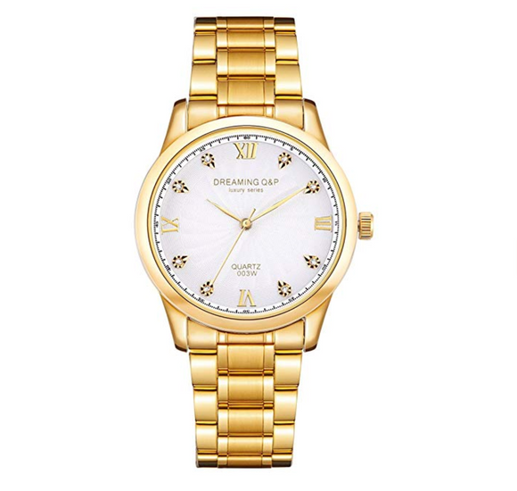 Yellow Gold Men's Luxury Business Quartz Sports Watch with CZ Diamonds (White Face)