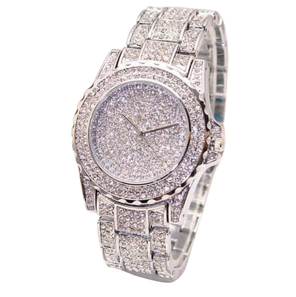 Diamonds Bust Down Gold Watch. Iced Out Watch Bling Jewelry Hip Hop Rapper Lab Diamond Watch