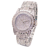 Simulated Diamonds Bust Down Gold Color Watch Iced Out Watch Bling Jewelry Hip Hop Rapper Lab Diamond Watch