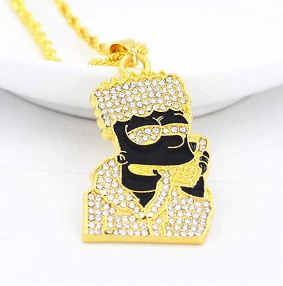Bart Simpson Chain Bart Necklace Supreme Bart Hip Hop Simulated Diamond Gold Color Metal Alloy 24in.
