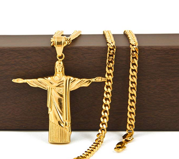 Brazil Rio De Janeiro Necklace Jesus Christ Chain Christ The Redeemer Cross Pendant Statue Gold Silver Color Metal Alloy 24in.