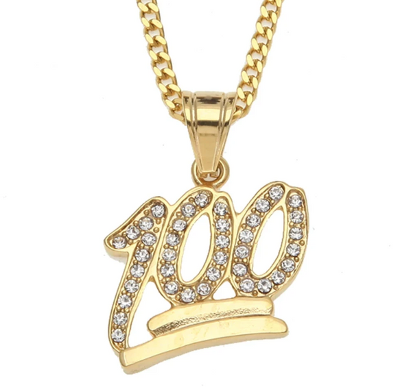 Emoji Necklace 100 Pendant 100 Chain Hip Hop 100 Bling Necklace Gold Color Metal Alloy Chain Simulated Diamond 24in.