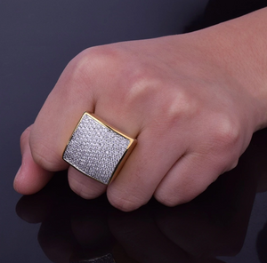 Big Square Ring Gold Diamond Hip Hop Jewelry Silver Iced Out Square Ring Rapper Jewelry