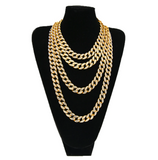 Miami Cuban Link Chain Necklace Bust Down Simulated Diamond Necklace Rapper Chain Bling Hip Hop Jewelry Gold Silver Color Metal Alloy