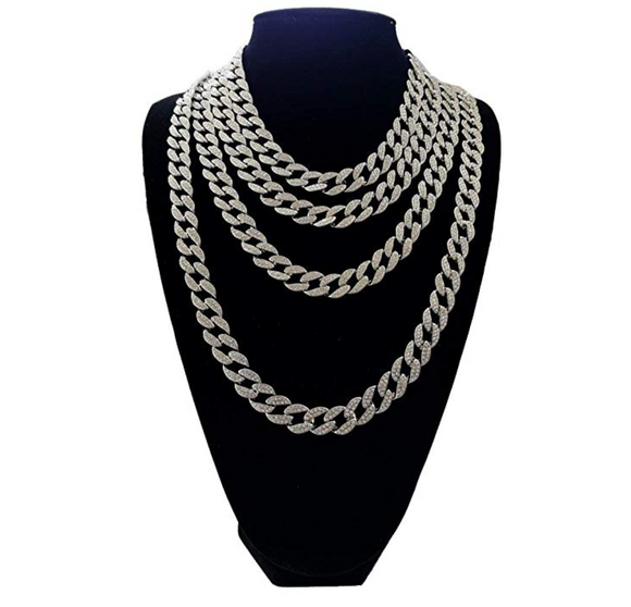 Silver Cuban Link Necklace Bust Down VVS Zirconia Swarovski Crystal Jewelry Diamond Hip Hop Chain.