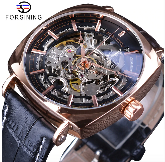 Black Skeleton Dress Watch Business Luxury Mechanical Leather Design