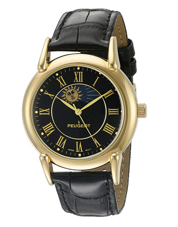 Celestial Sun Luxury Timepiece Moon Star Constellation Gold Watch Muller Black Leather